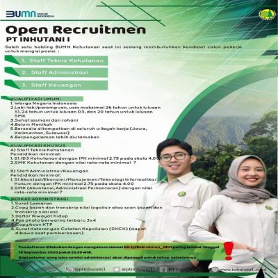 Open Recruitmen  PT. INHUTANI I